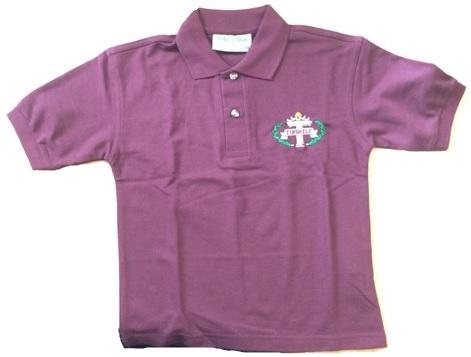 Polo Shirt Burgundy Tibshelf Infant School